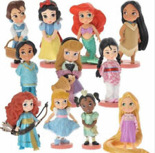 11pcs Moana Snow White Merida Princess Action Figures Mulan Mermaid Tiana Gifts