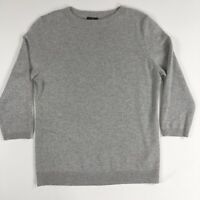 Ann Taylor Womens Silver Sparkle Cashmere 3/4 Sleeve Crew Neck Sweater Size MP