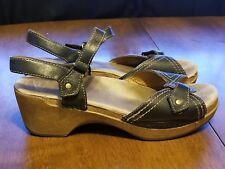 B11 Dansko Black Leather Slingback  Buckle Sandal Shoes Womens Size 41