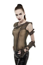 Punk Rave Steampunk Rock Gothic Cosplay Shoulder Armor Rogue Khaki Shirt Tank