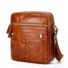 Men Shoulder Crossbody Messenger Travel Bag Genuine Leather 100% Chocolate