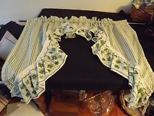 "1 PC RUFFLED SWAG CURTAIN WHITE & GREEN IVY & STRIPES 54WX36"" 13"" center 6.5"" RU"