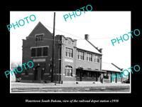 OLD LARGE HISTORIC PHOTO OF WATERTOWN SOUTH DAKOTA RAILROAD DEPOT STATION c1950