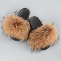 Real Raccoon Fur Slippers Women Fashion Slides Spring Autumn Indoor Flat SIZE SZ