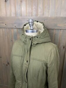 WOMENS  SHERPA Lined HOODED DISTRESSED GREEN ARMY Long JACKET Coat SZ Large