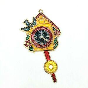 "Suncatcher Ornament Window Charm Cuckoo Clock Blue Bird 6 1/2"""