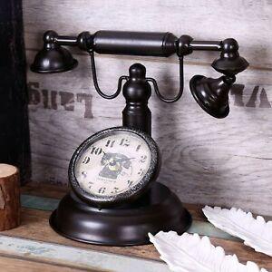 Retro Vintage Telephone Clock Creative Bar Cafe Shop Decoration Home Table Watch