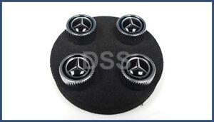 New Genuine Mercedes Black Valve Stem Caps Cover Set (x4) OEM B66472002