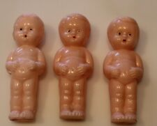 """Vintage 3 Plastic Baby Dolls 3 3/8"""" Tall 1 Marked """"Best Usa"""""""