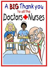 THANK YOU TO ALL THE DOCTORS AND NURSES CARTOON CARD FREE POST 1ST CLASS