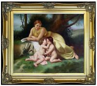 Framed Hand Painted Oil Painting Repro Bouguereau Woman & Children 20x24in