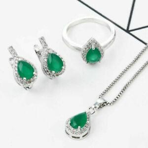 Fashion Silver Emerald Pendant Jewelry Women Necklace Drop Earrings Set Gifts