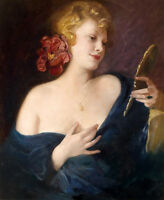 Rare Charming oil painting nice young woman with mirror handpainted by artist