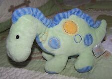 Just One Year Plush Green w/Blue Spots Dinosaur Rattle Baby Toy EUC