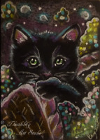 ACEO Black Cat Animal Kitten Flowers Pet Kitty Artwork Pastel Painting  Art Card