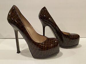 YSL Yves Saint Laurent Patent Leather Pumps Heels Brown Croc 37.5/ 7-7.5 $795