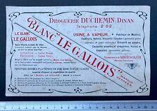Buvard 1900 Blanc «Le Gallois» à Dinan/ Blotter