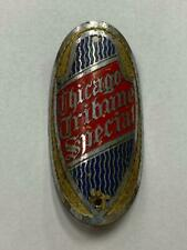 antique CHICAGO TRIBUNE SPECIAL Schwinn bicycle head BADGE tag emblem OVAL