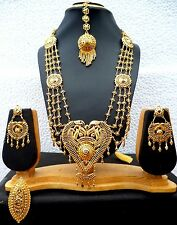 22K Gold Plated Light Weight Indian Wedding Necklace Earrings Tikka Ring 11''