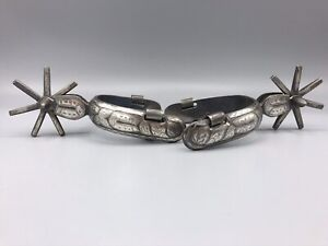 *Rare* SIGNED  Old Cowboy Mexican Vaquero Spurs Silver Engraved 1880s - 1890s
