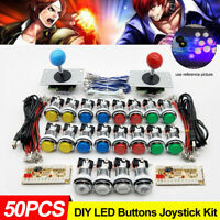 50PCS 32mm LED Arcade Buttons DIY Arcade Joystick Kit USB PC & Arcade Game