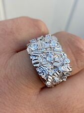 Mens REAL Solid 925 Sterling Silver Diamond Nugget Ring Sz 7-13 Hip Hop Ring ICY