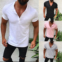 US Mens Slim Fit V Neck Short Sleeve Muscle Tee T-shirt Solid Tops Henley Shirts