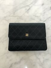 Authentic  Vintage Chanel Quilted Satin Evening Clutch With CC Rhinestones