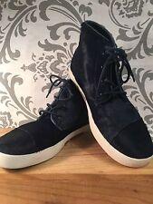 Navy Blue TOMS Sneaker Hightop Calf Hair Dyed Navy Blue SIZE 7.5 7 1/2 Rare #391