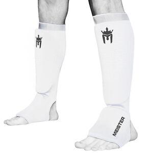 MEISTER ELASTIC CLOTH SHIN & INSTEP GUARDS - WT Muay Thai MMA Taekwondo Leg Pads