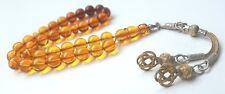 Prayer-Beads-Tasbih-Masbaha-FATURAN-KEHRIBAR-OLD ANTIQUE NATURAL DROP AMBER 33