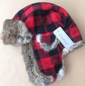 CROWNCAP Aviator Trapper Hat NWT Rabbit Fur BUFFALO PLAID Red Black WARM Large