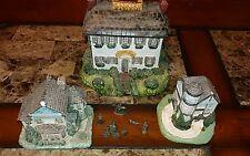 Avon Miniature Ceramic Houses Vintage Lot Collectible Quality Detail I CandleLit