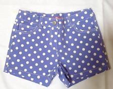 NWOT Mini Boden girl periwinkle blue heart pocket spotty polka dot shorts 11 y