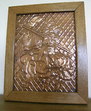 JOUSTING KNIGHT..COPPER PLAQUE WITH OAK FRAME
