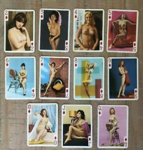 Vintage pin up girl Nude Collector Playing Swap Cards, 1950s 60s
