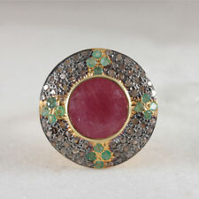 Handmade 925 Sterling Silver Jewelry New Pave Diamond Emerald Ruby Cocktail Ring