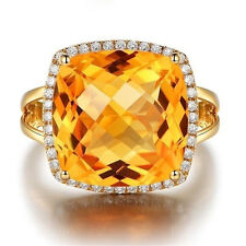 Noble Citrine Gemstone Decoration 18k Yellow Gold Filled Rings Marriage Jewelry