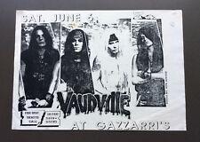 VAUDVILLE Vintage Flyer Ad For Gazzarri's Show Los Angeles 1980's Glam Rock
