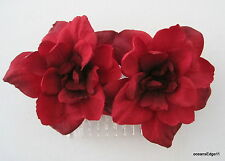 Red Apple Blossom Silk Two Flower Hair Comb,Pin Up,Updo,Rockabilly