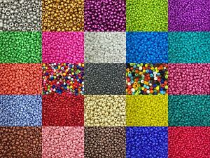 4mm Opaque glass seed beads - 50g pack, size 6/0, approx 750 beads, many colours