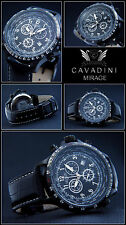 LUXURY CHRONOGRAPH Cavadini Watch Tachymeter Rotatable Ring Ion Black Plated