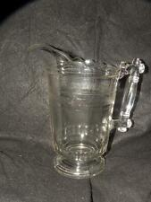 "ANTIQUE EARLY AMERICAN PATTERN GLASS  EAPG WATER PITCHER 8.75"" TALL"