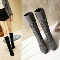 New Womens Hidden Wedge Heel Mid-Calf Boots Lace Up Round Toe Suede Casual Shoes