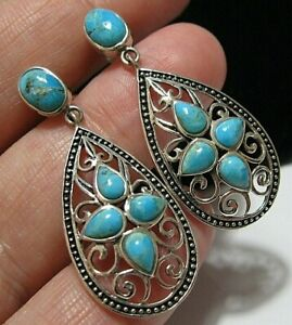 Gorgeous  Sterling Silver Turquoise Stone Dangle Drop EARRINGS