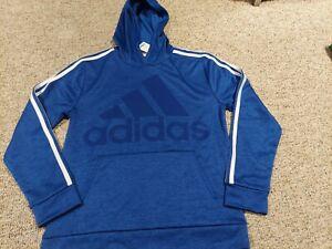 Boys Adidas Blue Hooded Sweatshirt size L 14/16 NWT