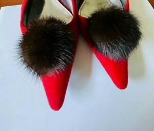 "New Shoe Clips Dark Brawn Mink Fur Pompom 2.5"" Diameter Shoe Accessories"