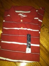 NWT BOYS RED & WHITE STRIPED SHORT SLEEVE POLO SHIRT FADED GLORY SIZE XXL (18)