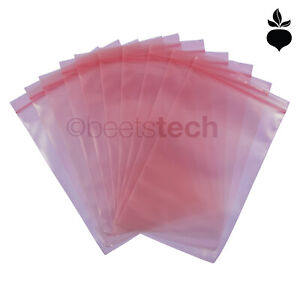 Static Dissipative ESD Bag Pink Poly Zip-Lock Top Reclosable 2x,3,5,6,8,9,12""