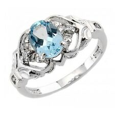 Sterling Silver Blue Topaz Ring with Cz Size 6